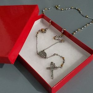 Siller and Gold Rosary Necklace